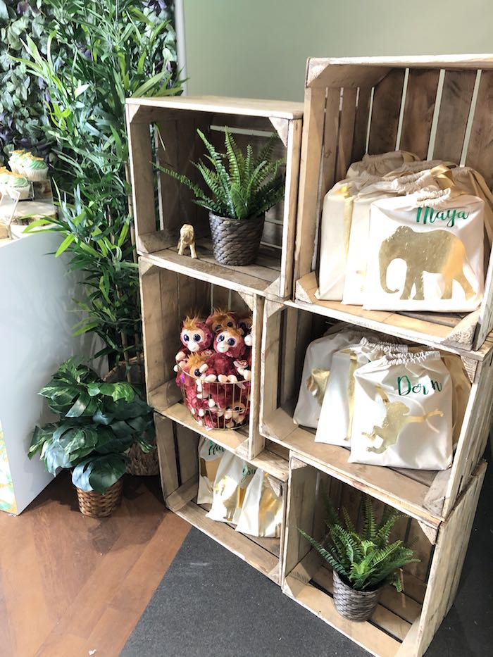Jungle Party Favors + Wood Crate Shelves from a Modern Jungle Birthday Party on Kara's Party Ideas | KarasPartyIdeas.com (7)