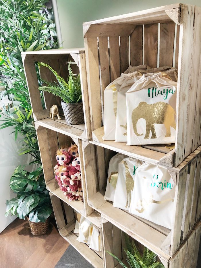 Jungle Party Favors + Wood Crate Shelves from Modern Jungle Birthday Party on Kara's Party Ideas | KarasPartyIdeas.com (25)