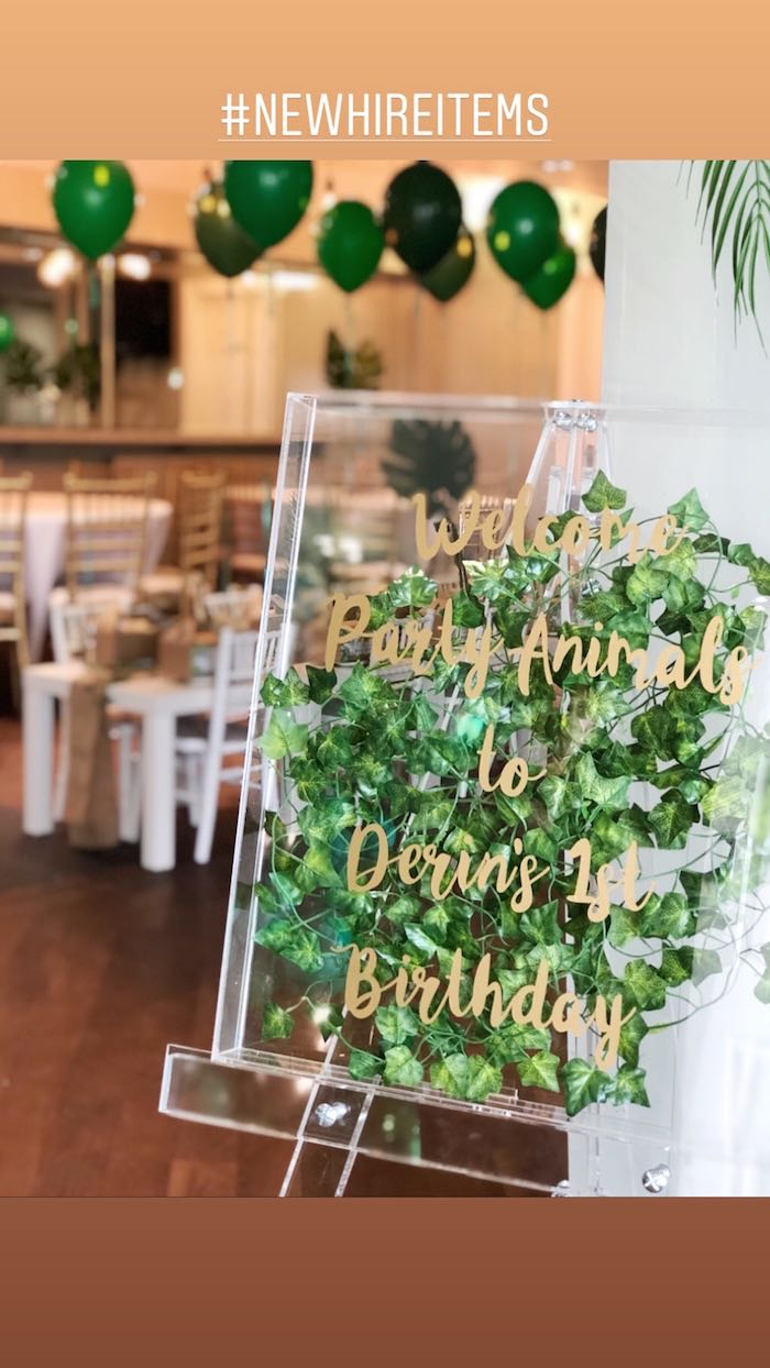 Jungle Leaf-filled Acrylic Welcome Sign from a Modern Jungle Birthday Party on Kara's Party Ideas | KarasPartyIdeas.com (6)