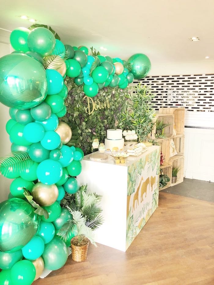 Jungle-inspired Balloon Garland + Dessert Table from a Modern Jungle Birthday Party on Kara's Party Ideas | KarasPartyIdeas.com (22)
