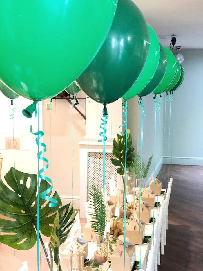 Floating Green Balloons from a Modern Jungle Birthday Party on Kara's Party Ideas | KarasPartyIdeas.com (19)