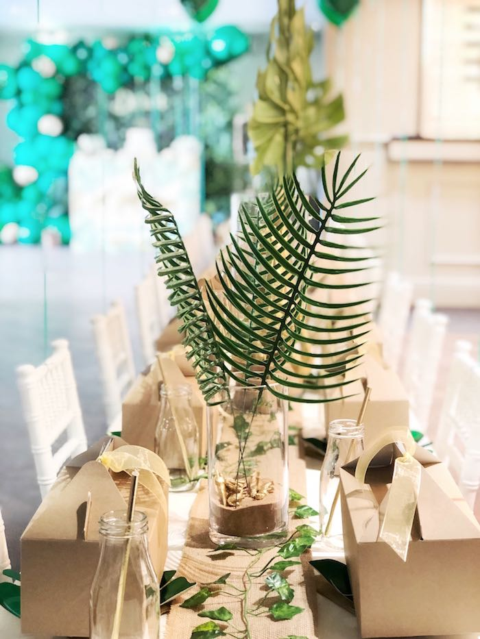 Jungle Leaf Table Centerpiece + Kid Tablescape from a Modern Jungle Birthday Party on Kara's Party Ideas | KarasPartyIdeas.com (17)