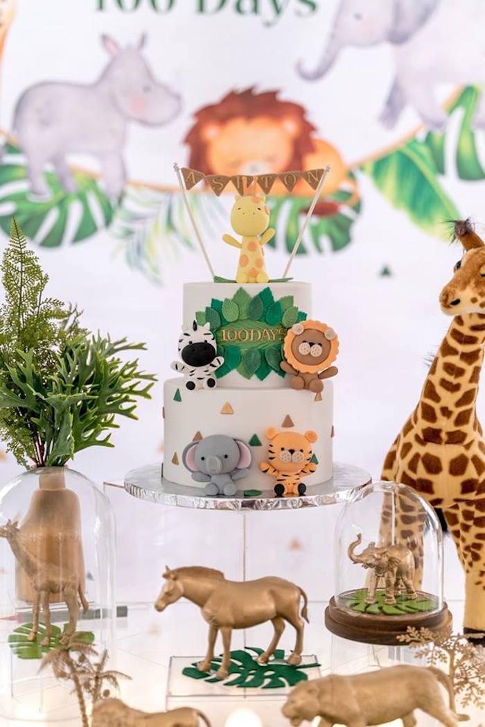 Safari Animal Cake from a Modern Safari 100 Days Party on Kara's Party Ideas | KarasPartyIdeas.com (21)