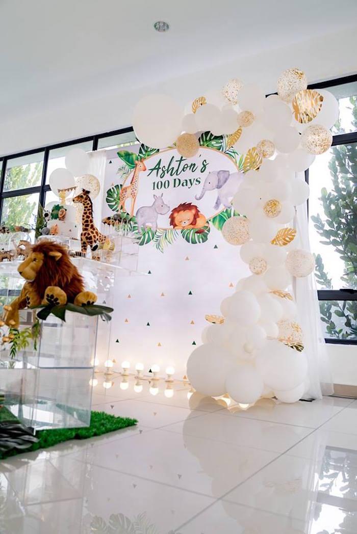 Safari Animal Balloon Arch Backdrop from a Modern Safari 100 Days Party on Kara's Party Ideas | KarasPartyIdeas.com (20)