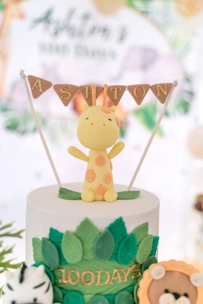 Giraffe Cake Topper from a Modern Safari 100 Days Party on Kara's Party Ideas | KarasPartyIdeas.com (13)