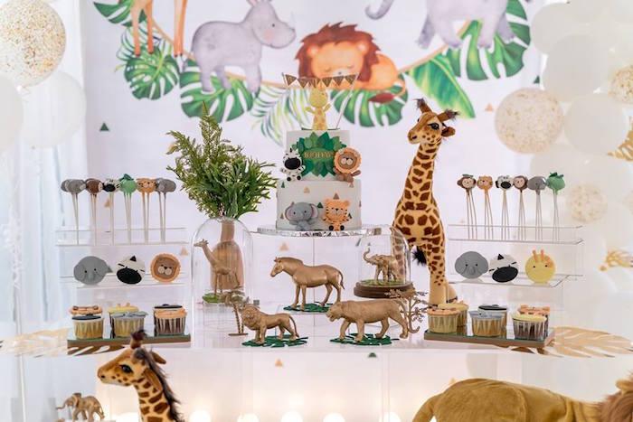 Safari Sweet Table from a Modern Safari 100 Days Party on Kara's Party Ideas | KarasPartyIdeas.com (12)
