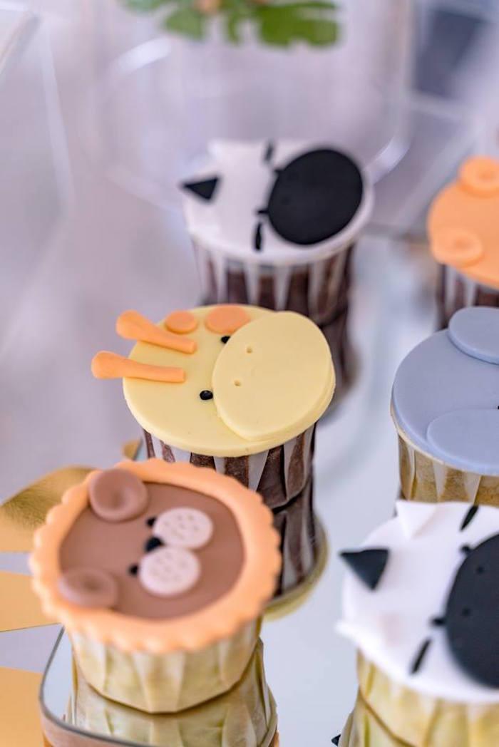 Safari Animal Cupcakes from a Modern Safari 100 Days Party on Kara's Party Ideas | KarasPartyIdeas.com (11)