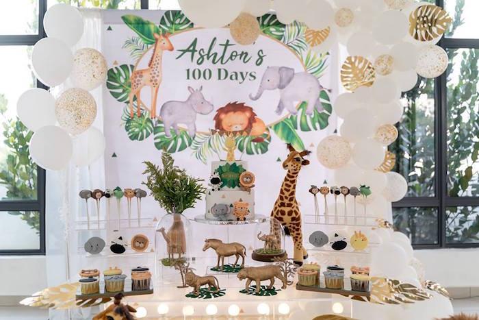 Safari Animal Themed Dessert Table from a Modern Safari 100 Days Party on Kara's Party Ideas | KarasPartyIdeas.com (10)