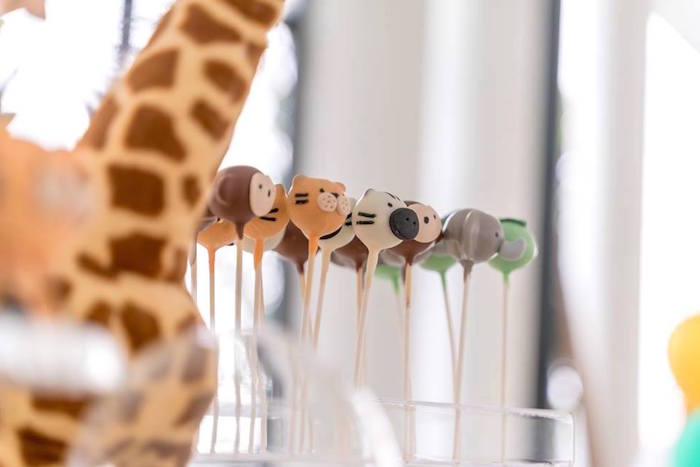 Safari Animal Cake Pops from a Modern Safari 100 Days Party on Kara's Party Ideas | KarasPartyIdeas.com (9)