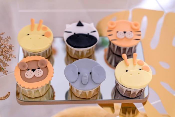 Safari Animal Cupcakes from a Modern Safari 100 Days Party on Kara's Party Ideas | KarasPartyIdeas.com (7)