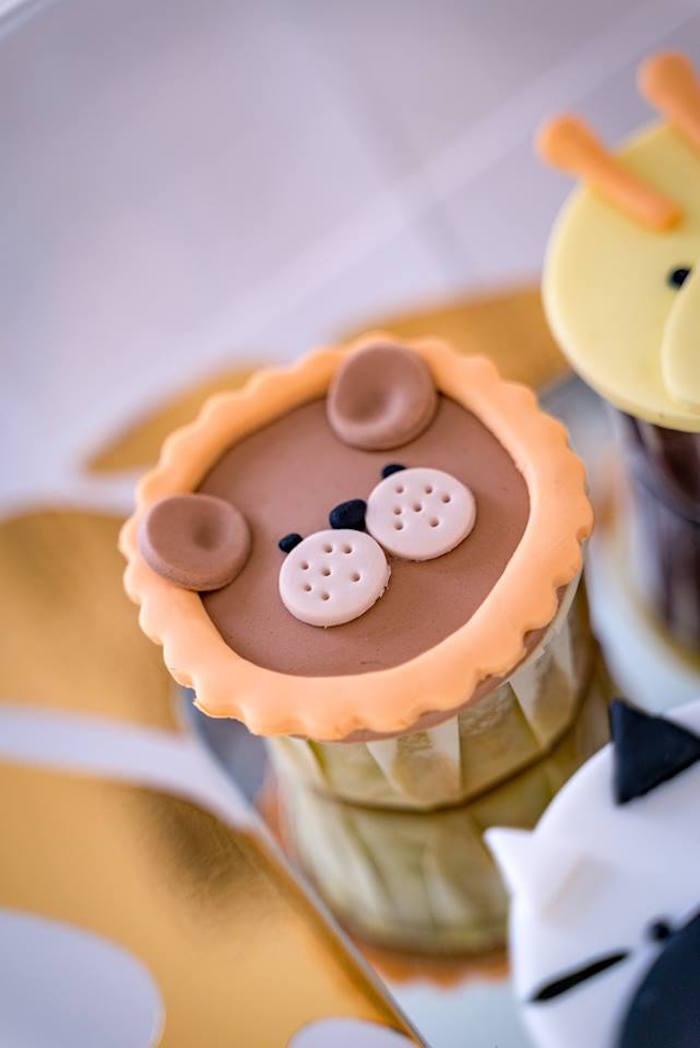 Lion Cupcake from a Modern Safari 100 Days Party on Kara's Party Ideas | KarasPartyIdeas.com (6)