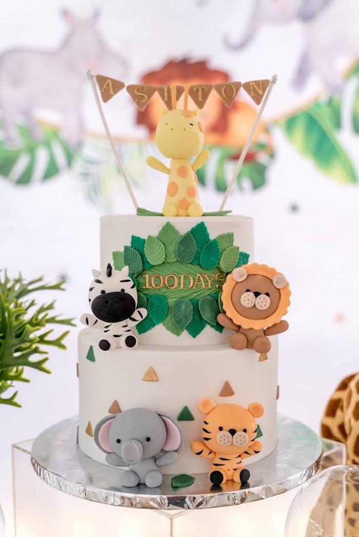 Modern Safari Animal Cake from a Modern Safari 100 Days Party on Kara's Party Ideas | KarasPartyIdeas.com (28)