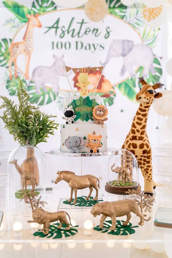 Cake Table from a Modern Safari 100 Days Party on Kara's Party Ideas | KarasPartyIdeas.com (25)