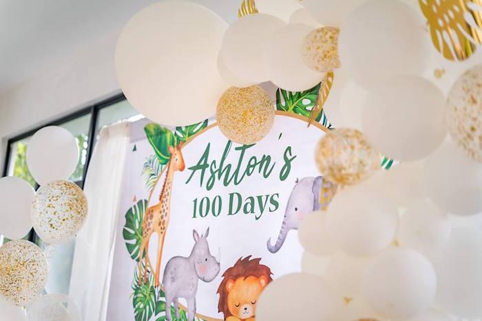 Safari Animal Balloon Garland Backdrop from a Modern Safari 100 Days Party on Kara's Party Ideas | KarasPartyIdeas.com (23)