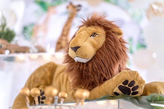Plush Lion from a Modern Safari 100 Days Party on Kara's Party Ideas | KarasPartyIdeas.com (22)