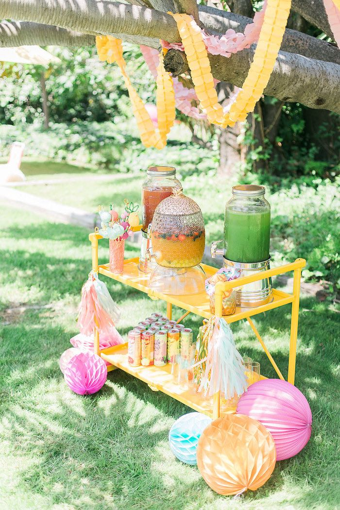 Bright Yellow Beverage Bar from a Modern Two-tti Fruit-i Pool Party on Kara's Party Ideas | KarasPartyIdeas.com (43)