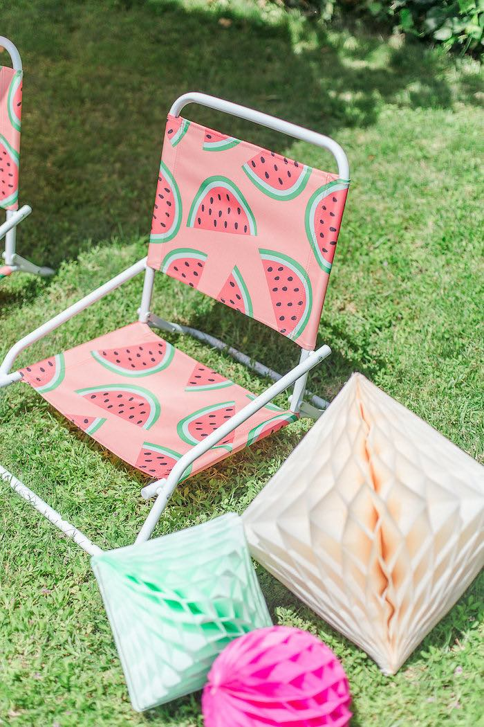 Watermelon-printed Lawn Chair from a Modern Two-tti Fruit-i Pool Party on Kara's Party Ideas | KarasPartyIdeas.com (40)