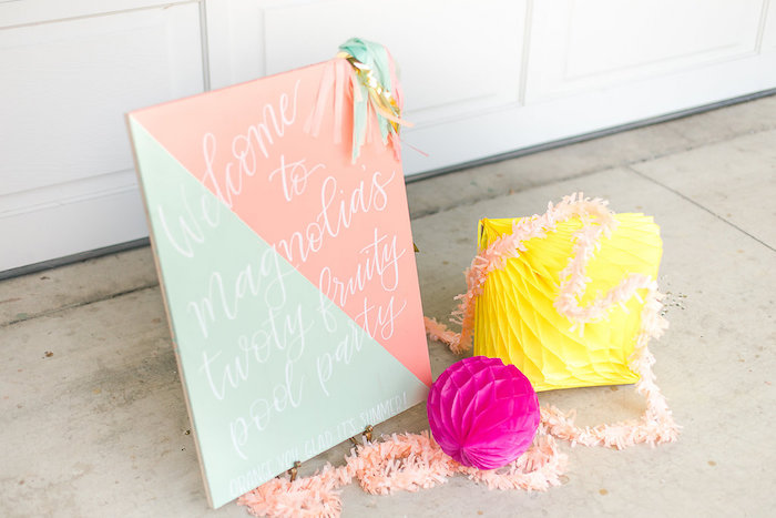 Modern Geometric Welcome Party Sign from a Modern Two-tti Fruit-i Pool Party on Kara's Party Ideas | KarasPartyIdeas.com (56)