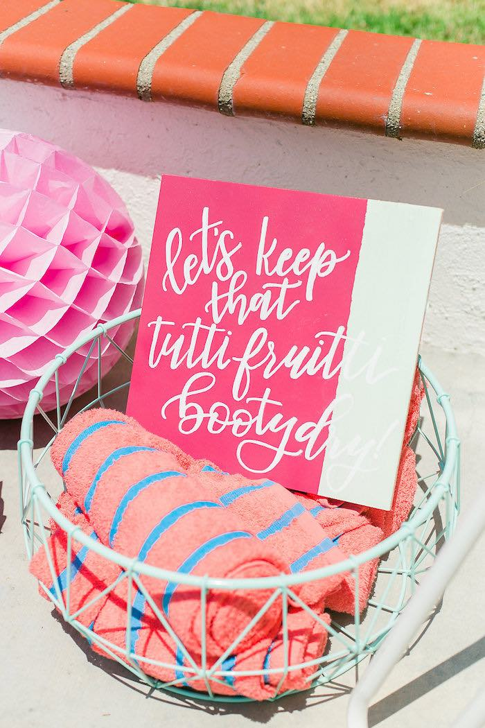 Modern Pink + White Party Signage + Towel Basket from a Modern Two-tti Fruit-i Pool Party on Kara's Party Ideas | KarasPartyIdeas.com (36)