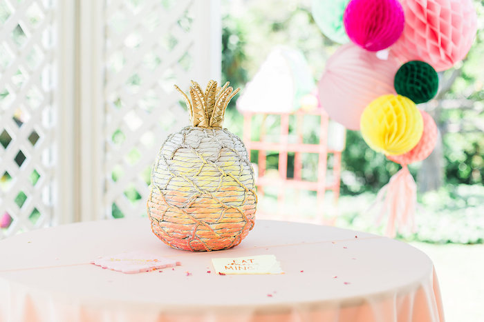 Glam Wicker Pineapple from a Modern Two-tti Fruit-i Pool Party on Kara's Party Ideas | KarasPartyIdeas.com (35)