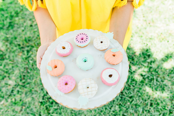 Fruit-inspired Doughnuts from a Modern Two-tti Fruit-i Pool Party on Kara's Party Ideas | KarasPartyIdeas.com (34)
