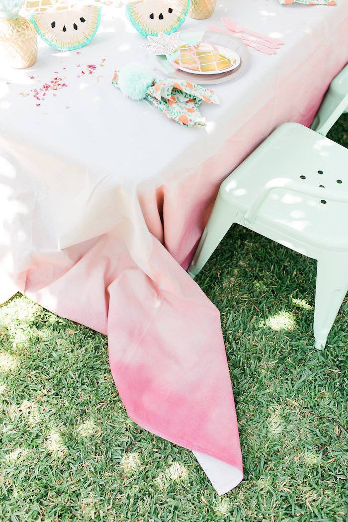 Pink Ombre Table Linen from a Modern Two-tti Fruit-i Pool Party on Kara's Party Ideas | KarasPartyIdeas.com (31)