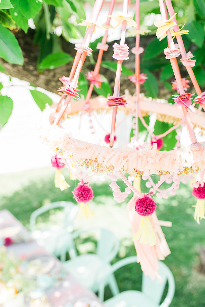 Pink Glam Pom Chandelier from a Modern Two-tti Fruit-i Pool Party on Kara's Party Ideas | KarasPartyIdeas.com (30)