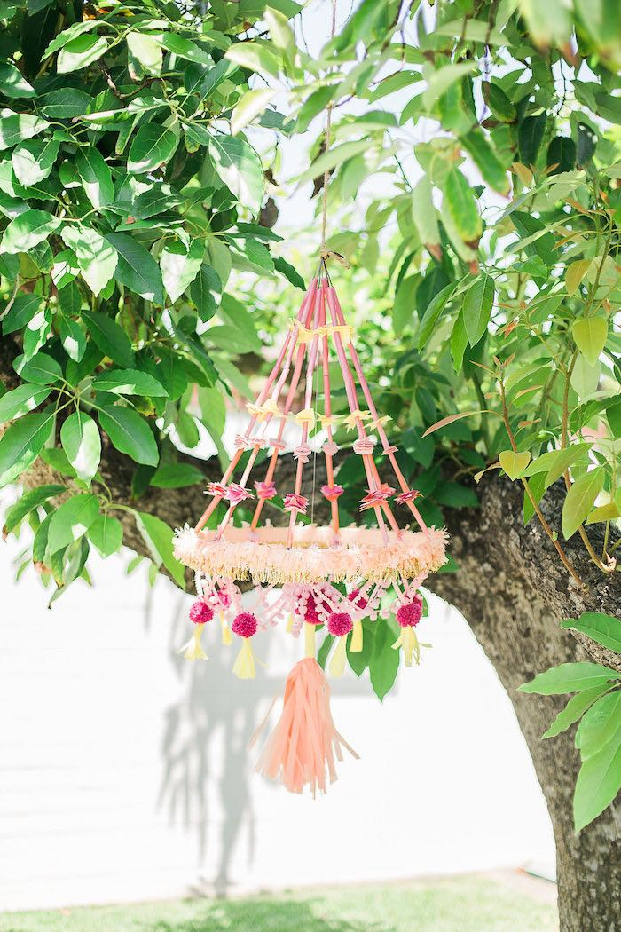 Pink Pom Chandelier from a Modern Two-tti Fruit-i Pool Party on Kara's Party Ideas | KarasPartyIdeas.com (55)