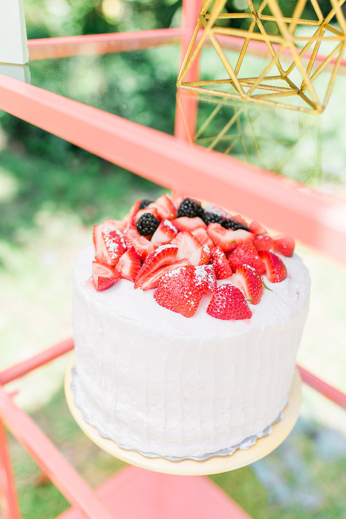 Berry-topped Cake from a Modern Two-tti Fruit-i Pool Party on Kara's Party Ideas | KarasPartyIdeas.com (19)