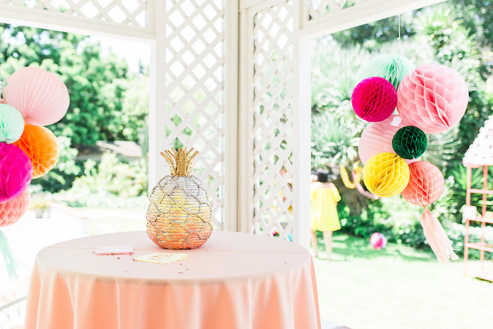 Pineapple Table from a Modern Two-tti Fruit-i Pool Party on Kara's Party Ideas | KarasPartyIdeas.com (17)