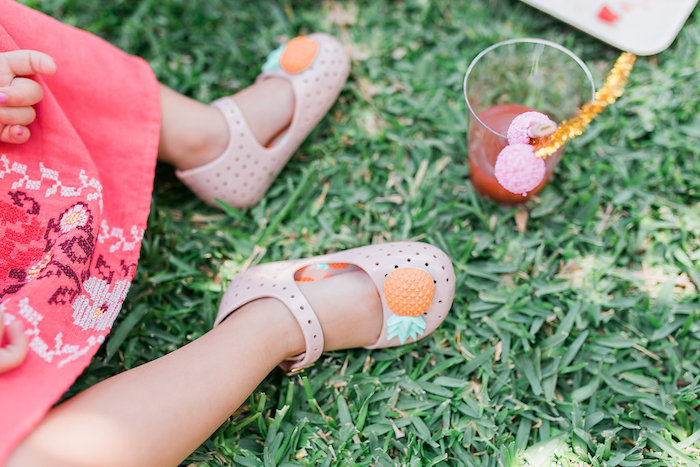 THE CUTEST Pineapple Shoes from a Modern Two-tti Fruit-i Pool Party on Kara's Party Ideas | KarasPartyIdeas.com (13)