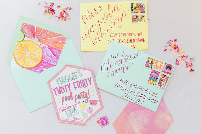 Fruit Themed Party Invite + Stationery from a Modern Two-tti Fruit-i Pool Party on Kara's Party Ideas | KarasPartyIdeas.com (12)