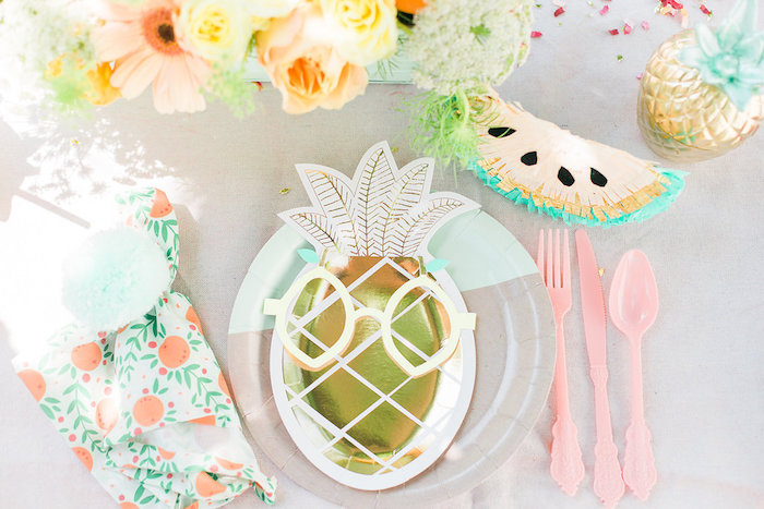 Gold Pineapple-plated Table Setting from a Modern Two-tti Fruit-i Pool Party on Kara's Party Ideas | KarasPartyIdeas.com (52)