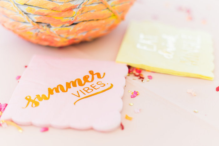 Summer Vibe Napkins from a Modern Two-tti Fruit-i Pool Party on Kara's Party Ideas | KarasPartyIdeas.com (49)
