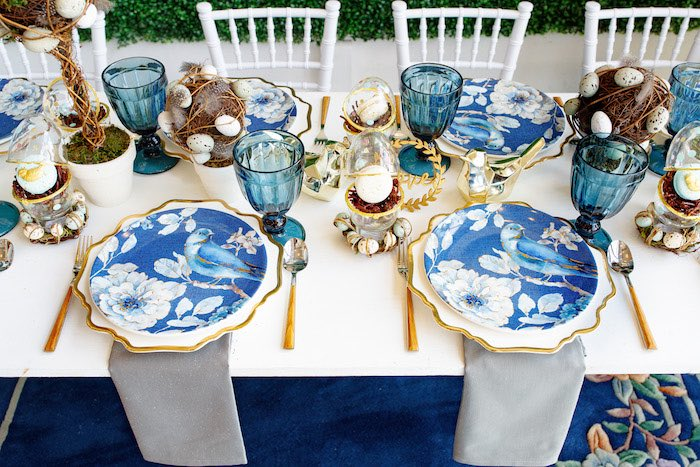 Garden Table + Blue Bird Table Settings from a Mommy & Me Garden Party on Kara's Party Ideas | KarasPartyIdeas.com (35)