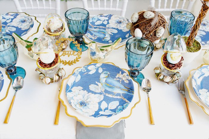 Elegant Blue Bird Table Settings from a Mommy & Me Garden Party on Kara's Party Ideas | KarasPartyIdeas.com (34)