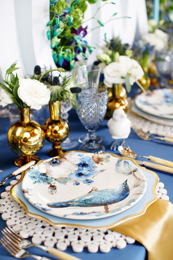 Blue + Gold Bird Plates + Table Setting from a Mommy & Me Garden Party on Kara's Party Ideas | KarasPartyIdeas.com (25)