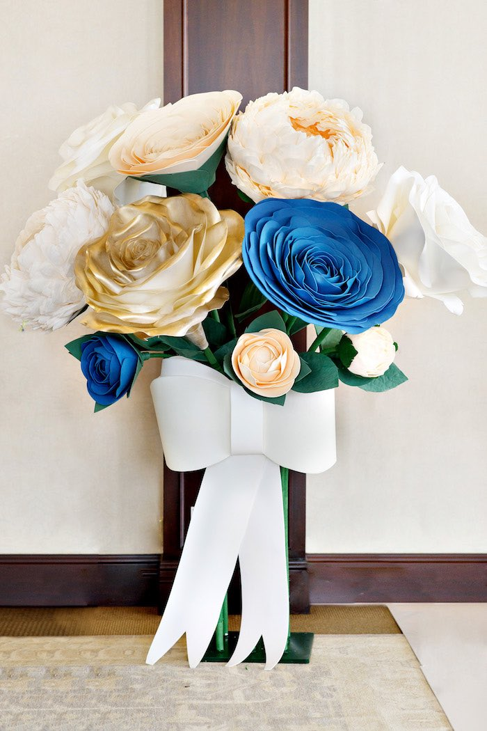 Giant Faux Paper Flower Arrangement from a Mommy & Me Garden Party on Kara's Party Ideas | KarasPartyIdeas.com (22)