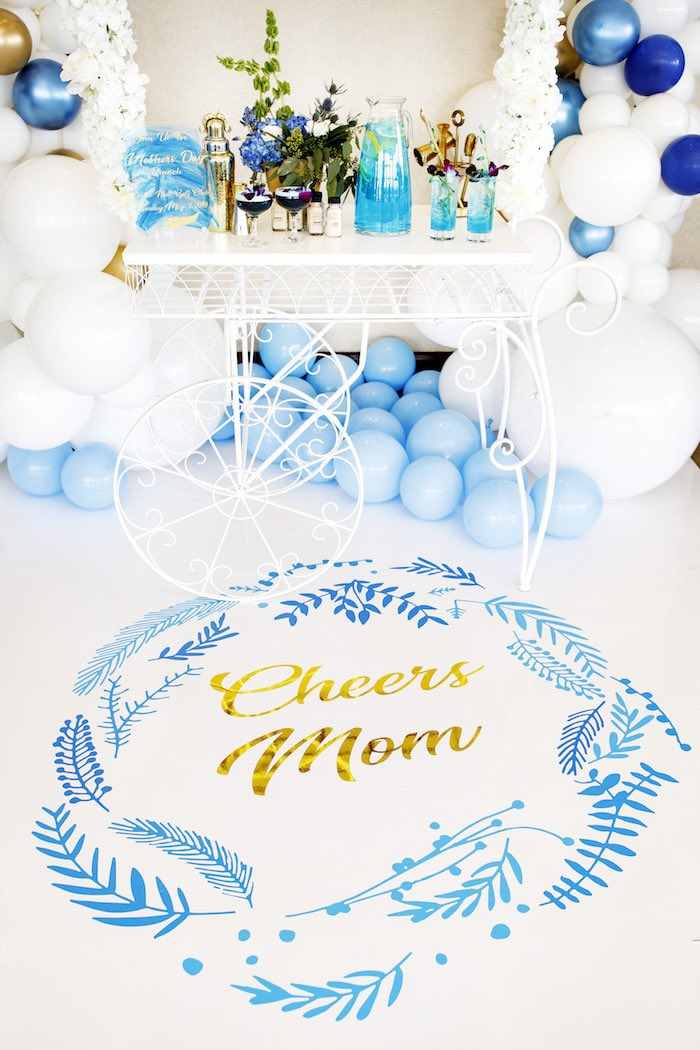 """Cheers Mom"" Floor Decal from a Mommy & Me Garden Party on Kara's Party Ideas 