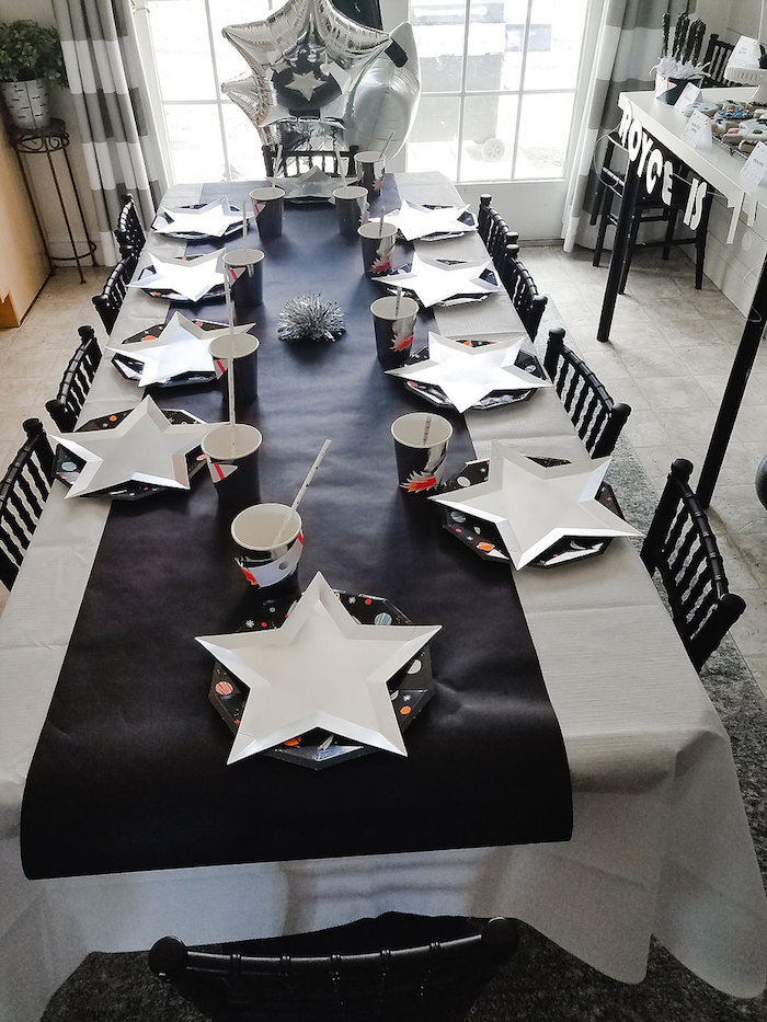 Space Themed Kid Table from a Monochromatic Space Rocket Party on Kara's Party Ideas | KarasPartyIdeas.com (14)