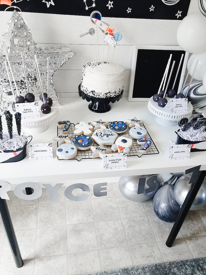 Space Themed Sweet Table from a Monochromatic Space Rocket Party on Kara's Party Ideas | KarasPartyIdeas.com (12)
