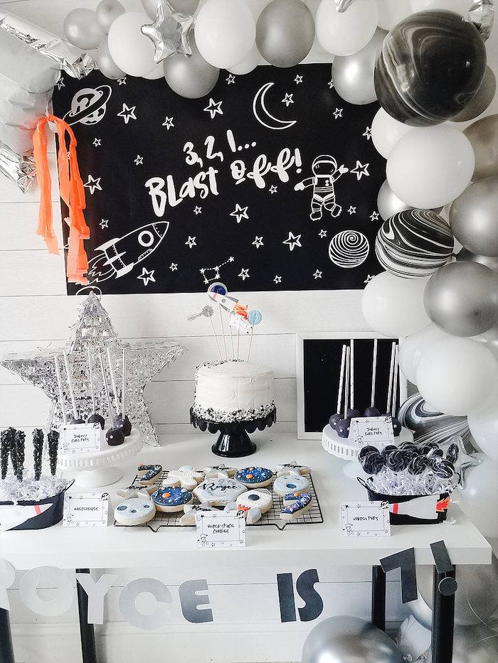 Space Themed Dessert Table from a Monochromatic Space Rocket Party on Kara's Party Ideas | KarasPartyIdeas.com (10)