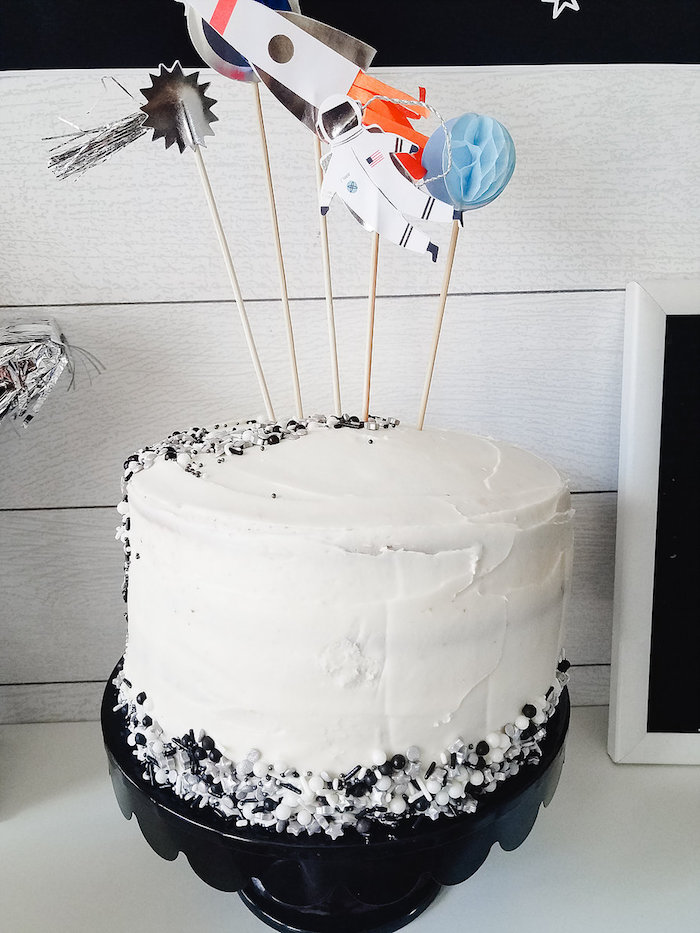 Outer Space Cake from a Monochromatic Space Rocket Party on Kara's Party Ideas | KarasPartyIdeas.com (8)