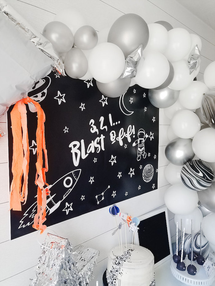 Blast Off Party Backdrop from a Monochromatic Space Rocket Party on Kara's Party Ideas | KarasPartyIdeas.com (6)