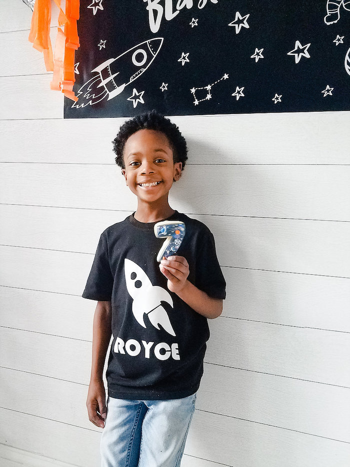 Custom Rocket Shirt from a Monochromatic Space Rocket Party on Kara's Party Ideas | KarasPartyIdeas.com (21)