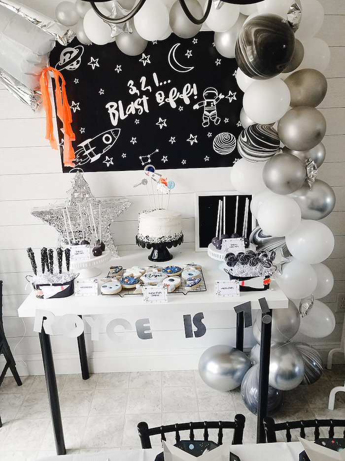 Monochromatic Space Rocket Party on Kara's Party Ideas | KarasPartyIdeas.com (20)
