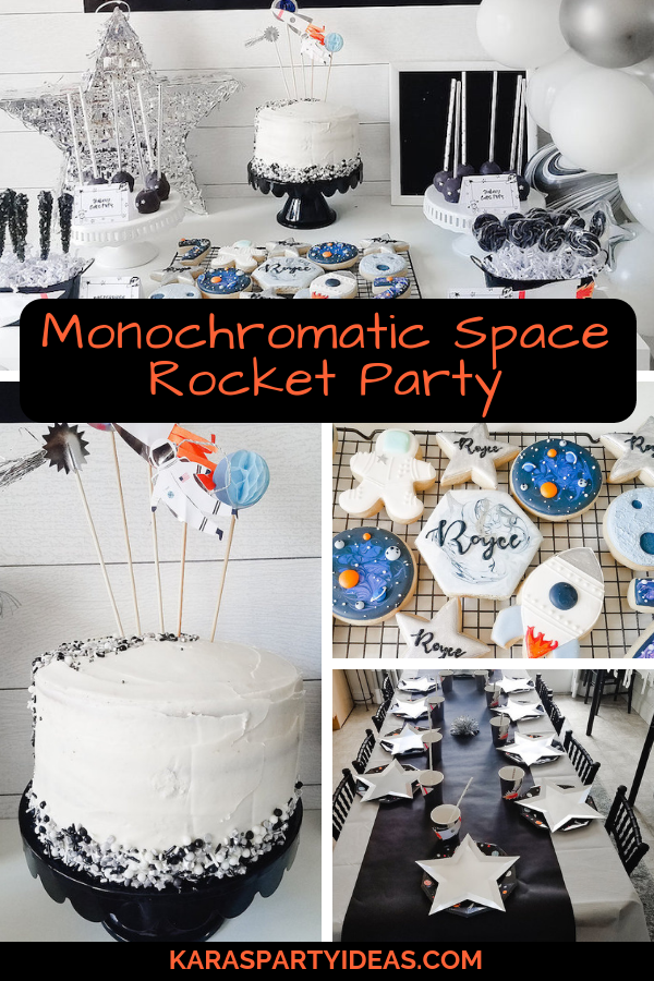 Monochromatic Space Rocket Party via Kara's Party Ideas - KarasPartyIdeas.com