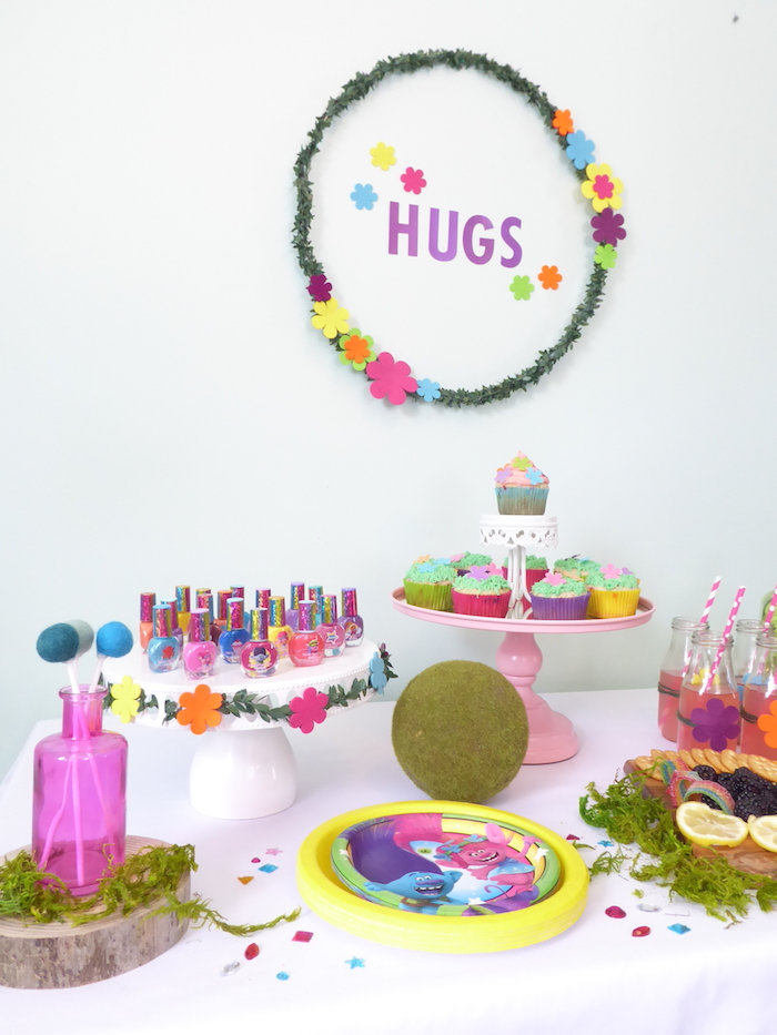Trolls Party Table from a Trolls Themed Spa Party for Girls on Kara's Party Ideas | KarasPartyIdeas.com
