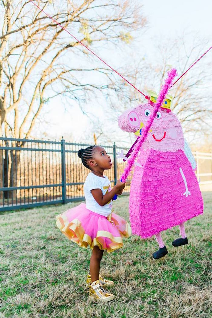 Peppa Pig Pinata from a Peppa Pig Birthday Party on Kara's Party Ideas | KarasPartyIdeas.com (32)