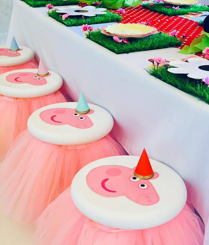 Peppa Pig Stools adorned with Pink Tulle Skirts from a Peppa Pig Birthday Party on Kara's Party Ideas | KarasPartyIdeas.com (26)